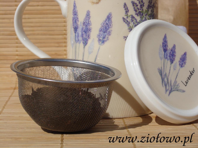Kubek zaparzacz z sitkiem metalowym i pokrywką Lavender